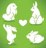 White Easter rabbits — Stock Vector