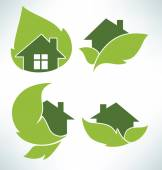 Ecological homes signs and icons — Stock Vector