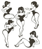 Vector collection of plus size pin up girls — Stock Vector