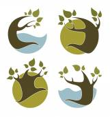 Ecology and nature, signs and icons — Stock Vector