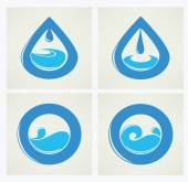 Water stickers, icons and symbols — Stock Vector