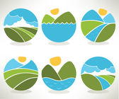 Lovely landscape and nature symbols and icons — Stock Vector
