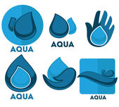 Water stickers and symbols in flat style — Stock Vector
