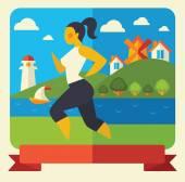 Outdoor running woman — Stock Vector
