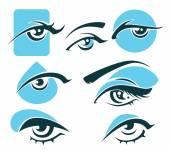 Vision-Symbole und Ikonen und Augen Frau — Stockvektor