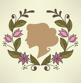 Retro woman portrait and floral frame — Stock Vector