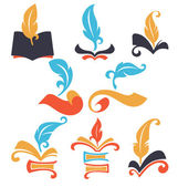 Old books, parchment, reading and writing symbols — Stock Vector