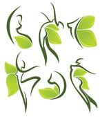 Women health, beauty and treatment symbols — Stock Vector