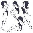 Vector collection of pinup girls in different poses — Stock Vector #62862081