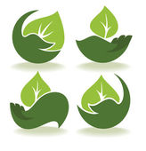 Ecological symbols and signs,human's hands and green growing pla — Stock Vector
