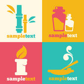 Spa and aromatherapy icons in flat style — Stock Vector