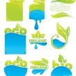 Vector collection of eco green and water symbols and sticker — Stock Vector #66142563