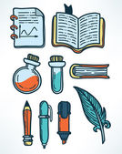 Science and education hand drawn icons — Stock Vector