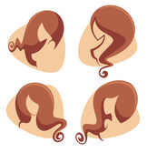Girls silhouettes with reach hair — Stock Vector