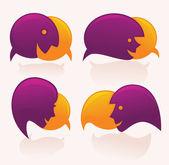 Vector speech bubbles look like a head and face — Stock Vector
