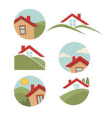 My little home, vector collection of property symbol — Stock Vector