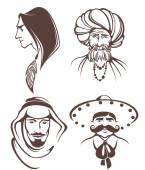 Different man faces, different nationality — Stock Vector