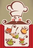 Cartoon chef head, dish, and menu board — Stock Vector