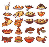 All international food collection: spain, indian, american — Stock Vector