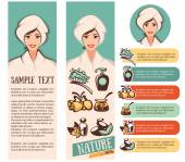 Beautiful cartoon woman and natural spa icons, emblems and backg — Stock Vector