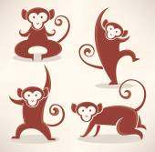 Funny monkey silhouettes, vector collection of symbols of 2016 — Stock Vector