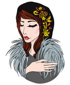 Russian girl in fur and scarf — Stock Vector