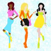 Silhouettes of girls in acid colors. Sixties — Stock Vector