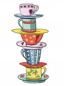 Stack of bright colored funny cups and saucers — Stock Vector