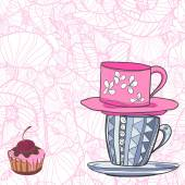 Two cups with patterns and cupcake with cherry — Stock Vector