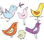 conjunto muy bonito dibujos animados pájaros en colores pastel — Vector de stock  #75911739