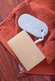 Soaps and towel — Stock Photo