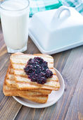 Breakfast with toast — Stock Photo