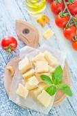 Cheese with basil — Stock Photo