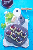 Cheese with grape — Stok fotoğraf