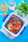 Fried eggplant with pepper — Foto Stock