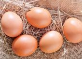 Raw chicken eggs with brown shells — Stockfoto