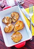 Baked potato with lard — Stock Photo