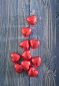 Heart shaped chocolate candies — Stock Photo