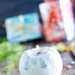 Candle and christmas decorations — Stock Photo #57090711
