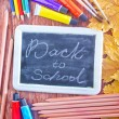 Chalkboard, school supplies and autumn leaves — Stock Photo #57091109