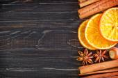 Sliced orange and cinnamon sticks — Stok fotoğraf