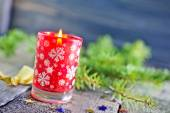 Candle and branch of christmas tree — Stock Photo