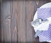 Gaffel, kniv och tallrik — Stockfoto