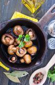 Fried mushrooms in pan — Stock Photo