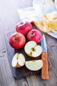 Fresh red apples and knife — Stock Photo