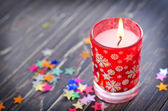 Kaars en kerst decoraties — Stockfoto