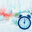 Clock on the christmas background — Stock Photo #58307529