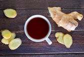 Tea in cup and ginger — Photo