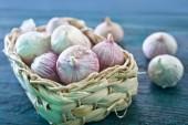 Garlic in basket — Stock Photo