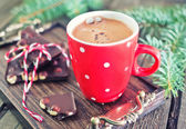 Cocoa drink and chocolate with nuts — Stock Photo